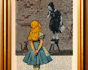 Alice meets Banksy's Girl with Rat  New Orleans 2008 on upcycled 1890 French Dictionary  Page mixed media original digital print