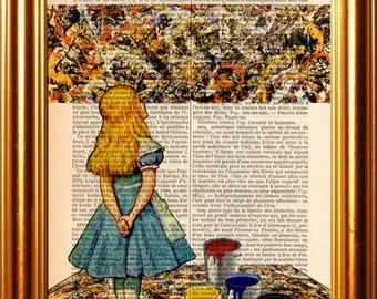 Alice Meets Jackson Pollock's Convergence 1952 on upcycled 1890's French Dictionary  Page mixed media original digital print