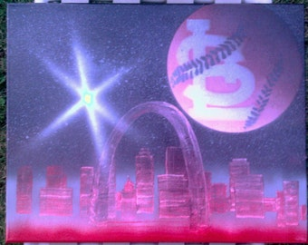 Red and Black St Louis Cardinals Spray Painted Canvas