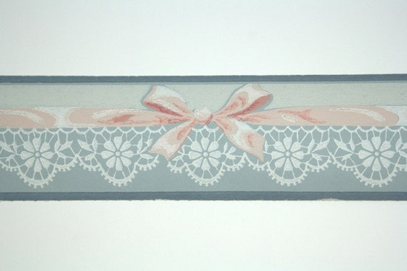 Full vintage wallpaper border trimz pink and blue soft - Pastel lace wallpaper ...