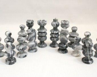 Stone chess pieces etsy - Granite chess pieces ...