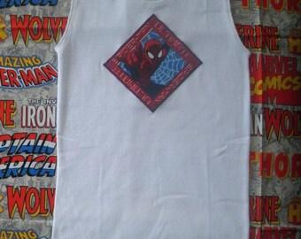 SPIDER-MAN, white singlet, size 6, applique