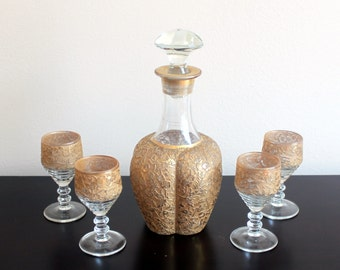 CLOSING SALE - Paden City Spring Orchard Gold Encrusted Decanter Set with 4 Cordial Glasses