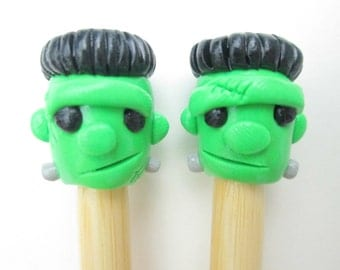 Frankenstein Knitting Needles-- handmade polymer toppers on premium bamboo size 11