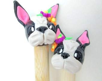 French Bulldog Knitting Needles-- handmade toppers on premium size 15 bamboo