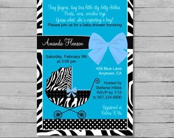 Blue Zebra Baby Shower Invitation - DIY Custom Printable