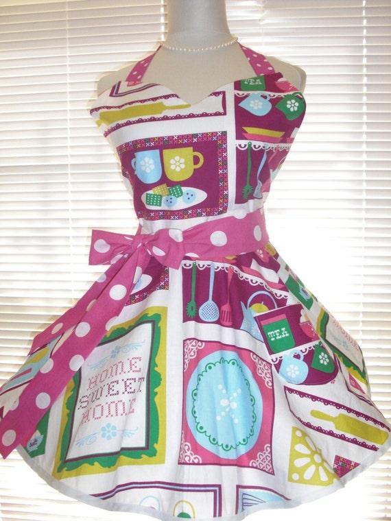 SALE Sweetheart Retro Apron Sweet Home with Hot Pink Polka Dots Circular Flirty Skirt