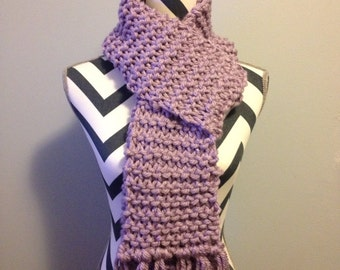 Cute Lavender Chunky Hand Knit Scarf //pink //violet//lavender//purple