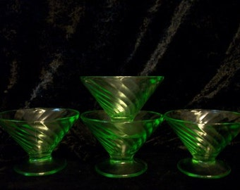 Spiral Sherbets Set of 6 Hocking Vasaline  Glass