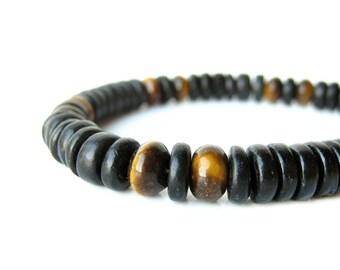 """Men's bracelet handmade from tiger eye and black wood - """"Cat's Eye"""""""