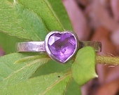 Sterling Silver Heart Shaped Amethyst Ring Size 8
