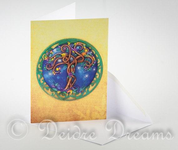 Magic Tree Card, Greeting Card, Tree of Life Card, Greetings Card, Valentine Card, Christmas Card, Xmas Card, Holiday Card, Yule Card