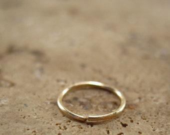 Nose Rings Solid 14k Gold 18 Gauge - Endless Nose Ring, Continuous Nose Ring, Solid Gold Nose Ring, 14k Gold Nose Ring, Septum Ring