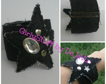 Black Denim Jean Star Bangle, black fabric, denim bangle, recycled denim jean, rhinestones, egst, OOAK, handmade in Greece
