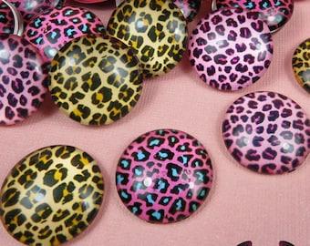 6 pc CHEETAH GLASS DOMES Cabochon / Animal print Decoden Flatback Cabochons 20mm