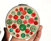 Embroidery Hoop Art, Upcycled Textile And Button Wall Art, Glossy Christmas Candy, Green, Red, Silver Hoop, Holiday Wall Decor