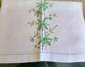 Vintage Embroidered Guest Towel Bamboo Design