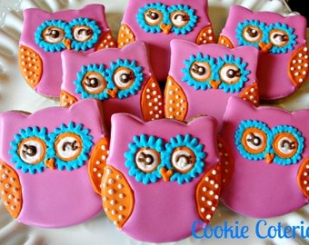 You're A Hoot Owl Decorated Cookies Birthday Party Cookie Favors One Dozen