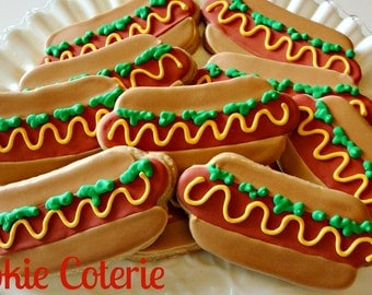 Hotdog Barbeque Cook Out Decorated Cookie Favors One Dozen