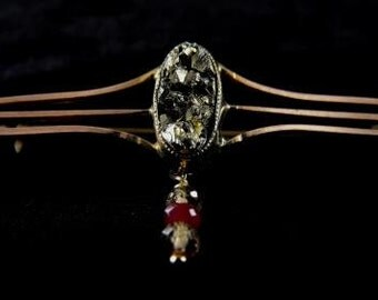 9k Gold Brooch Custom Cut Drusy Pyrite Ruby Topaz Repurposed Antique Bar Pin Genuine Gemstones Hip Cricket Original