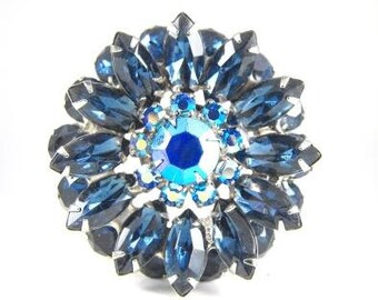 Vintage Brooch Montana Blue Rhinestones Juliana Jewelry Stacked and Packed Tiered Beauty