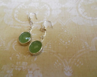 Traditional, Peridot Opal with Textured Polished Rhodium Frame Dangle Earring with Silver Chain Links and Stylish French Ear Loops