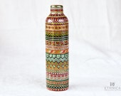 Hand painted ceramic bottle / African ornament / Art / Home decor