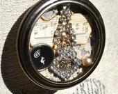 Victorian Steampunk Pocketwatch Necklace Found Items ~ Vintage Sheet Music Pearls Rhinestones Lace Typewriter Key  ~ Reminiscence