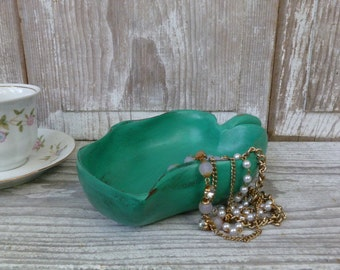 Emerald Green Leaf Shaped Wooden Bowl