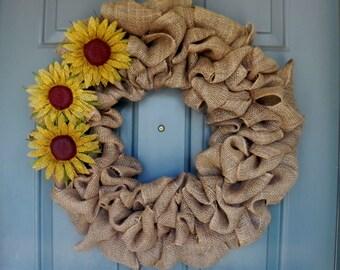 Burlap Wreath - Sunflower Wreath - Harvest Wreath- Summer Wreath
