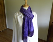 Crushed Velvet Scarf, Purple Velvet Scarf, Long Scarf