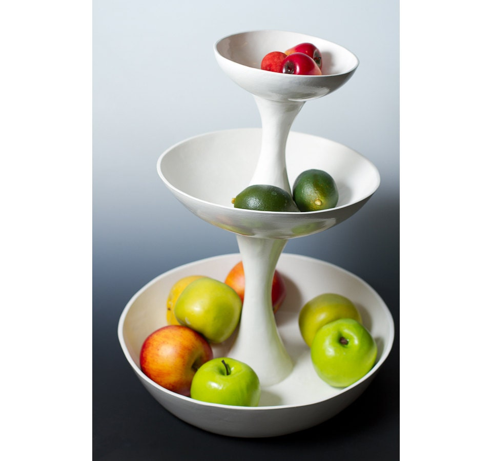 3 tiered white pottery ceramic fruit bowl vase or for serving - Tiered fruit bowl ...