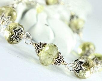Lemon Quartz Bracelet, Sterling Silver, Goldfilled, bohemian bracelet,  yellow gemstone, sterling wire wrap, boho jewelry,gift for her, 2099