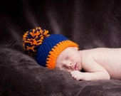 Crochet Bronco Football Hat, crochet hat, bronco hat photography prop 0-3 month