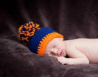 Crochet Bronco Football Hat, crochet hat, bronco hat photography prop 0-3 month