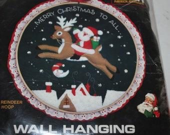 "Titan Needle Craft Wall Hanging Merry Christmas To All Santa Reindeer 10"" Hoop Free Shipping"