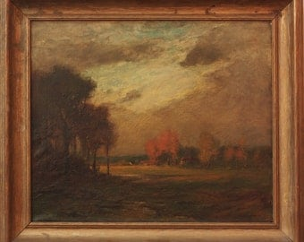 E Loyal Field American Tonalist Landscape Oil Painting original antique late 19th early 20th century