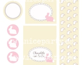Printable party pack Pink bunny