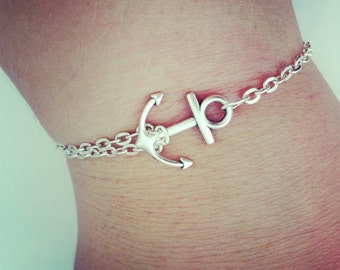 silver chain anchor bracelet