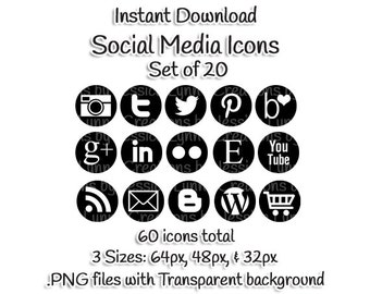 Black Social Media Icons - Set of 20 - 60 Icons total