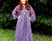 RESERVED Indian Cotton Handmade Kaftan Maxi Hippie BOHO Dress Large -Paisley Red Blue Tones- Free Shipping- by Bohemian Rhapsody on etsy