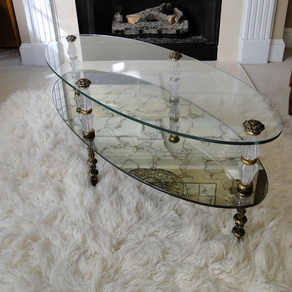 Vintage Coffee Table Gold Veined Reflective Two Tiered Glass