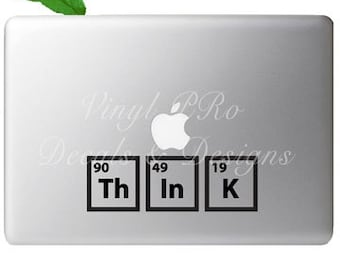 Periodic Table Elements Think Chemistry Atomic Mass Mols Energy Chemical Studies Decal for Macbook
