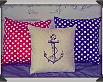 Screenprinted Anchor Cushion Nautical handmade tattoo alternative