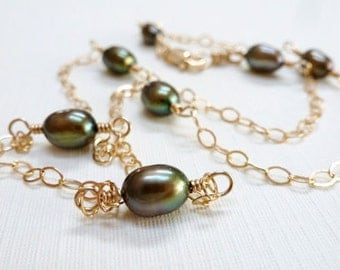 Olive Green Freshwater Pearl Necklace / 14K Gold Fill / Petite / SimplyJoli Fashion Jewelry