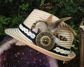 Romantic Steam Punk Fedora w/ Feathers, Leather and Vintage Button