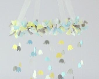 Baby Blue, Yellow, Gray & White Elephant Nursery Mobile Decor, Baby Shower Gift