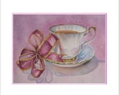 Steeped In Pink Teacup Notecards, Pack Of 6