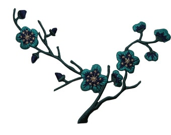 ID #6585 Blue Flower Blossoms Branch Plant Iron On Embroidered Patch Applique