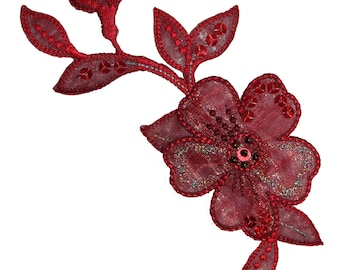 ID #6711 Dark Red Bloom Blossom Flower Plant Iron On Embroidered Patch Applique